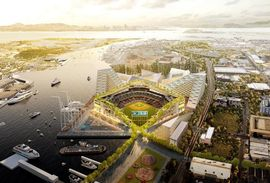 BIG's rendering of the proposed Oakland A's waterfront stadium