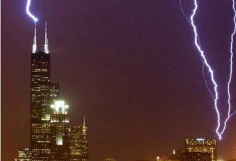 Lightning striking Willis Tower, Chicago
