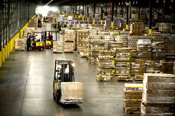 Warehouse, industrial, distribution center The average height of warehouses and distribution centers has risen nine feet in the past 50 years. A newer big-box warehouse.