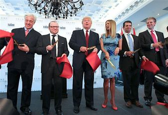 Jim Petrus, COO, Trump Hotel Collection, Alex Shnaider, Chairman, Talon International Development Inc. Donald Trump, Ivanka Trump, Donald Trump Jr. and Eric Trump cut the ribbon to signify the opening of the new Trump International Hotel & Tower Toronto