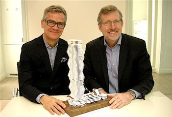 Rogers VP John Anderton and Urban Capital Property Group partner Mark Reeve at Urban Capital's Toronto HQ.