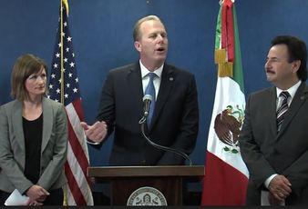 Kevin L Faulconer, with the San Diego World Trade Center executive director Nikia Clarke and Tijuana mayor Juan Manuel Gastélum