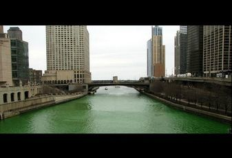 The Chicago River, dyed green for St. Patrick's Day