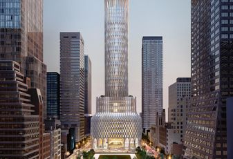 The rendering of 660 Fifth Ave., the redevelopment of 666 Fifth Ave., planned by Kushner Companies and designed by Zaha Hadid