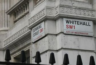 Whitehall and Downing Street signs, London SW1