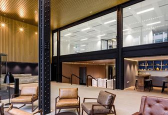 reception area of Lewis Building, Birmingham, 2018