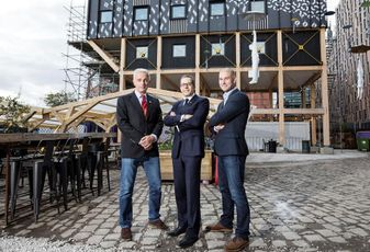 Richard Upton, Matthew Weiner and James Heather U+I at the site of the company's new Manchester office at Mayfield