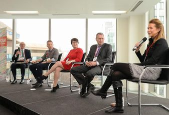 Birmingham State of the Market, left to right: Adrian Bland (Shakespeare Martineau), David Marks (Brockton Capital), Dawn Baxendale (Birmingham City Council), Simon Wilkes (L&G) and Victoria Turnball (Opus Land)