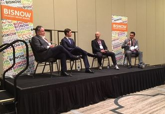The NRP Group Vice President, Development Timothy Cone, Pender Capital Co-Founder and Managing Director Zach Murphy, Harris Bay Managing Partner Jake Harris, and Institutional Property Advisors Associate Drew Garza, who moderated.