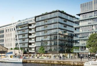 CGI of 6 Hanover Quay, a build-to-rent scheme being developed by Cairn Homes, and bought by Carysfort Capital