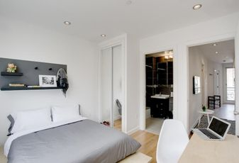 A bedroom at a Manhattan location of Quarters, a German co-living brand