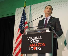 Virginia Gov. Ralph Northam speaks at the announcement for Amazon's headquarters in Arlington, Nov. 13, 2018.