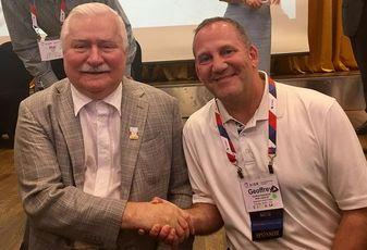 NKF's Geoffrey Kasselman with Lech Walesa