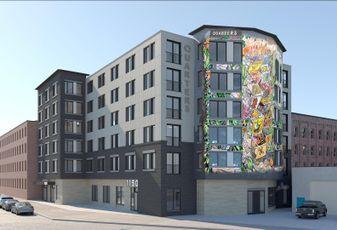 A rendering of Quarters' co-living development coming to Philadelphia's Northern Liberties neighborhood