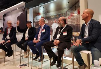 JLL Director of Retail Research James Cook, Neighborhood Goods CEO Matt Alexander, JLL Retail CEO Greg Maloney, Thyng CEO EdLaHood and Candytopia CEO John Goodman at a JLL panel at ICSC RECon 2019 in Las Vegas.