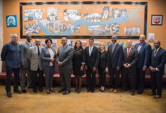 Mayor Muriel Bowser and nonprofit and business leaders celebrate the Rockefeller Foundation grant