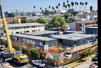 Hope on Alvarado, an 84-unit modular housing project for LA's chronically homeless, at 166 South Alvarado St. in Los Angeles.