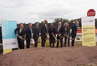 Brookfield executives, partners and local leaders celebrating the Halley Rise groundbreaking