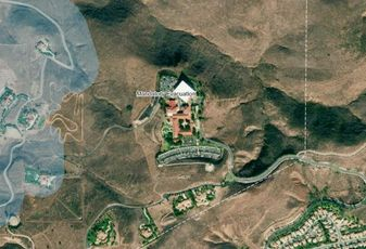 An aerial view of the Ronald Reagan Presidential Foundation and Institute in Simil Valley. A growing brush fire is threatening the former president's library.