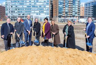 The Brookfield development team and D.C. leaders celebrate the groundbreaking of the new Chemonics headquarters at The Yards.