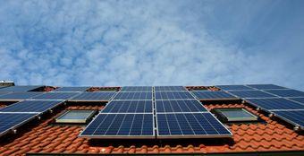 solar panels on roof.
