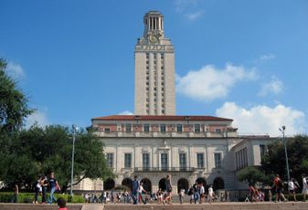 UT Tower, on campus at the University of Texas at Austin.