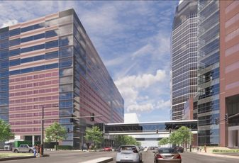 A rendering of the expansion of Texas Children's Pavilion for Women in the Texas Medical Center.
