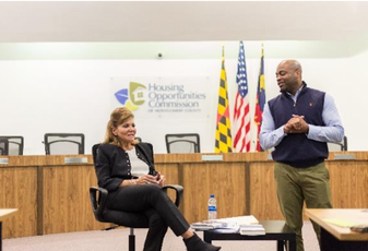 Edgewood CEO Cindy Sanquist and HOC Executive Director Stacy Spann at an HOC event in April 2018.