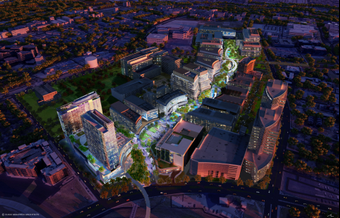 An aerial rendering of TMC3, a 37-acre life sciences campus in Houston's Texas Medical Center.