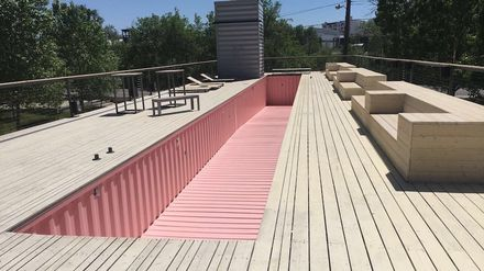 Taxi Container Pool, While Perhaps Not Practical, Makes A Statement In Pink
