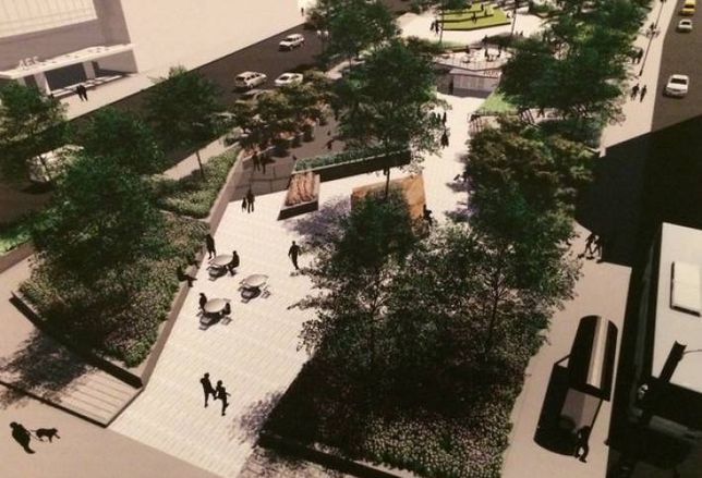 A rendering of Jupiter Realty's $3.5M makeover of Ogden Plaza Park, part of the firm's construction of 465 N Park Dr in Chicago.