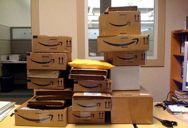 Stock photo of Amazon packages