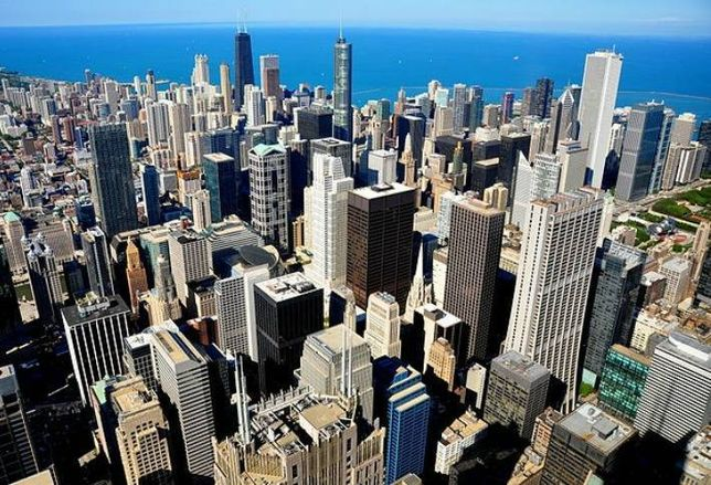 A view of the downtown Chicago office district