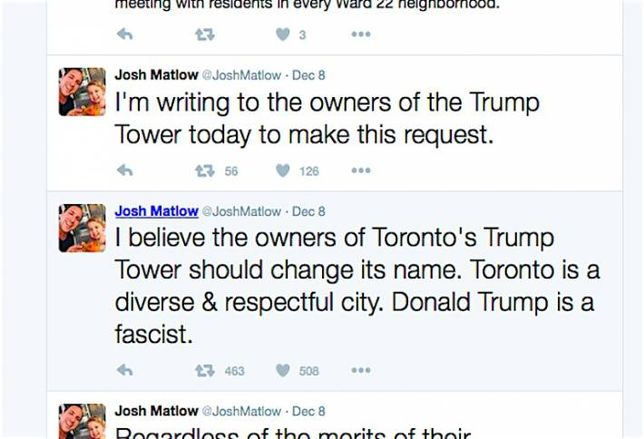Councillor Wants 'Fascist' Trump's Name Taken Off Toronto Tower