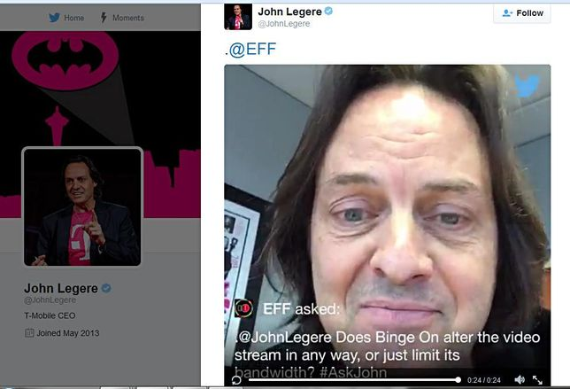 A Twitter post from T-Mobile CEO John Legere