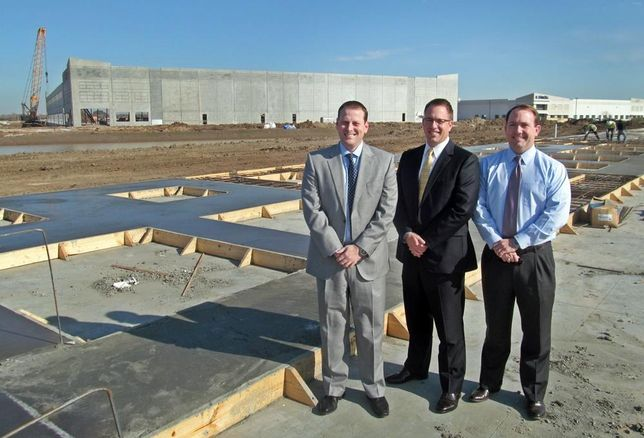 Stream Realty's Kyle Valentine and Justin Robinson with PrinREI's Casey Miller at Bay Area Business Park Phase 2 construction site Jan 2016