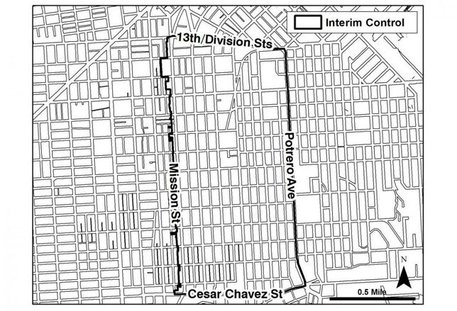 The interim control boundaries for San Francisco's Mission District restrictions on new development credit: San Francisco Planning Department
