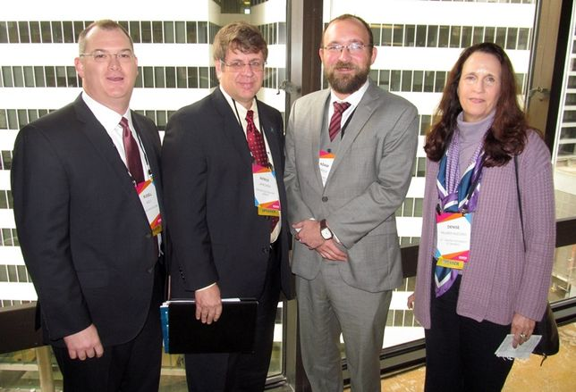 Energy Architecture's Russell Kelly, Greater Houston Partnership's Patrick Jankowski, Institute for Regional Forecasting's Adam Perdue, and University of Texas Center for Energy Economics' Deniese Palmer-Huggins at Bisnow Impact of Oil and Gas on Real Estate January 2016