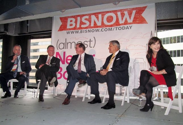 Chip Colvill, Brad Freels, Tim Relyea, Bruce Rutherford and Debbie Wilson at Bisnow Houston Impact of Oil and Gas on CRE Jan 2016