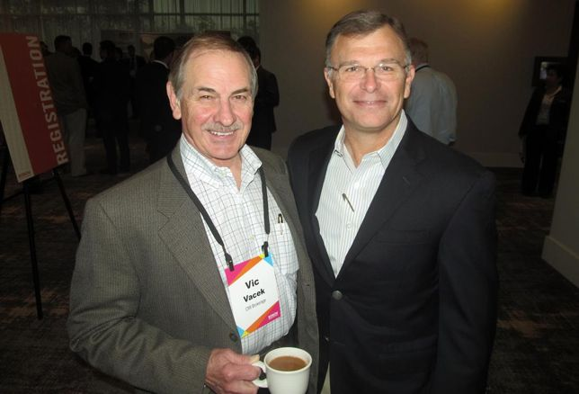 Vic Vacek and Clay Development's Robert Clay at Bisnow Houston industrial event Feb 2016