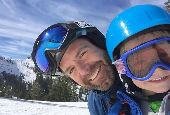 Lennar Multifamily's Alex Waterbury and his son skiing