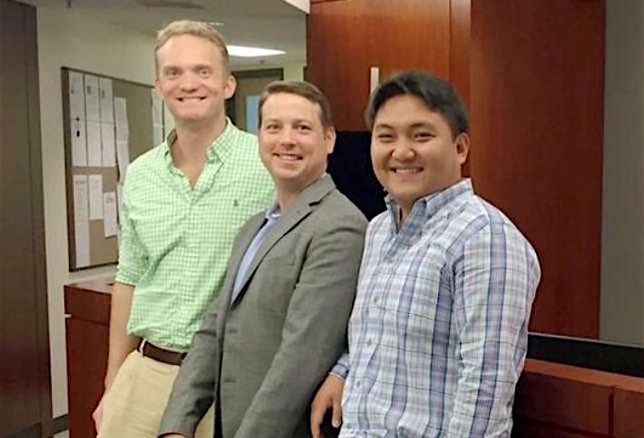 Eastern Foundry co-founders Geoff Orazem and Andrew Chang (right), flanking JLL's Andy O'Brien