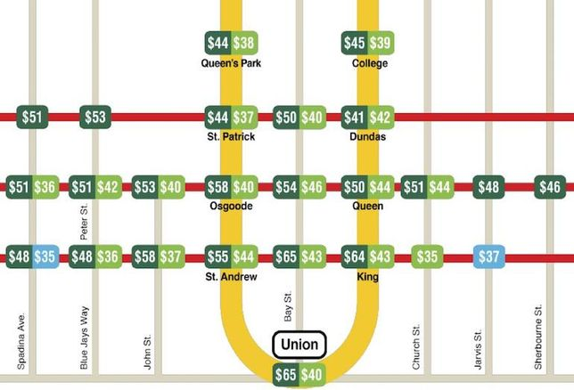 Transit Map Shows Same Asking Rents For Union, King And Bay