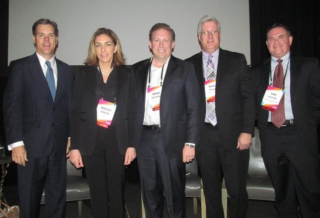 Panel at Bisnow San Antonio's multifamily event Mar 2016: Pat Jones, Hailey Ghalib, Brad DeYoung, Dave Tague, Van Alston Credit: Bisnow: Catie Dixon