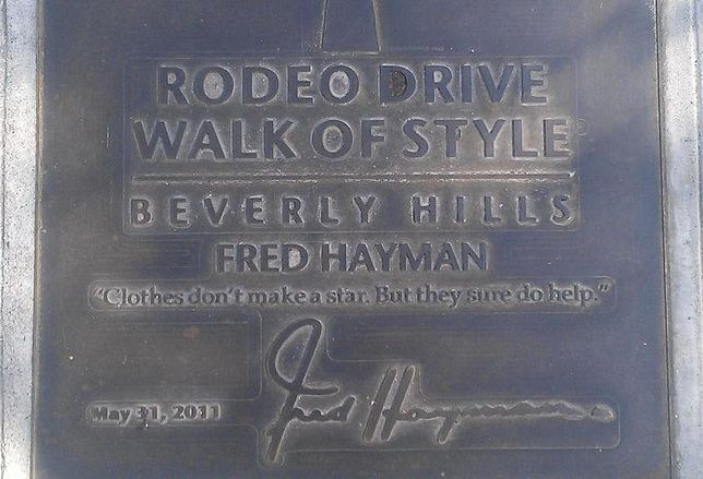 Fred Hayman's plaque on Rodeo Drive credit: 	 Alf.laylah.wa.laylah