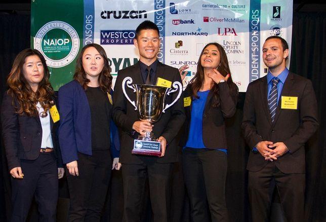 USCD NAIOP San Diego University Challenge winning team members are (l-r) are: Jenni Cen, Michelle Markiewicz, Albert Liang, Cristina Martinez and Nicholas Maldarelli..