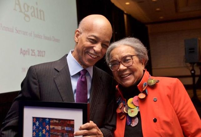 Tom Williamson And Marian Wright Edelman Honored At Legal Aid Awards Dinner