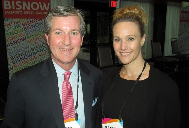 Crescent's John Zogg with Partner Engineering's Katrine Hansen at Bisnow's Future of Downtown Dallas event May '16