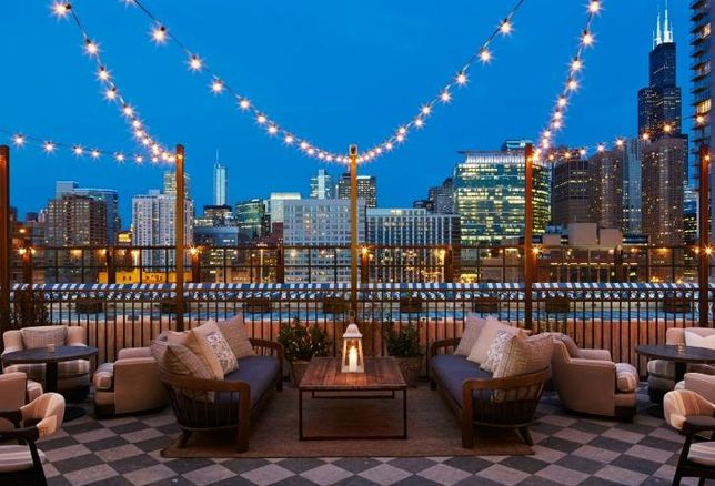 The rooftop view at Soho House Chicago.