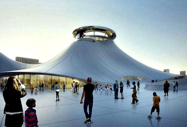 A rendering of the Lucas Museum of Narrative Art